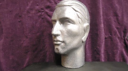 """12""""H MALE MANNEQUIN- COLOR-COATED CHROME HIGH-GLOSS BY POLLY PRODUCTS"""