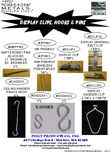 DISPLAY PINS CLIPS HOOKS TM 04 05 12 13 15 19 27 28 30 33 38 45 95 - FEB-2014