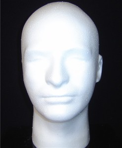 "6278X 12""H MALE MANNEQUIN HEAD FORM BY POLLY PRODUCTS"