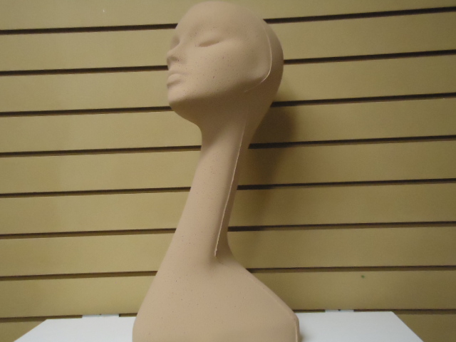 "#630CCC-1 20""H SWAN NECK MANNEQUIN- COLOR-COATED tm TAN"