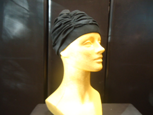 #DHAT-BK profile of Design Hat- Cotton/Jersey on #6176XMM-GOLD Metallic Mannequin
