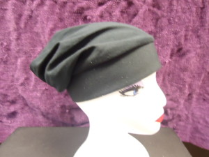 #CHAT-BK  CHEF'S STYLE HAT- BLACK COTTON JERSEY