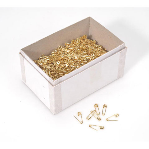 """#SPINX00-G 3/4"""" L GILT-FINISHED SAFETY PINS- 10 GROSS (1440) PINS PER BOX"""